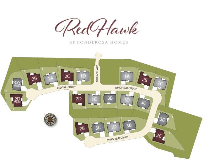 Ponderosa Homes - Red Hawk in Danville - Site Map