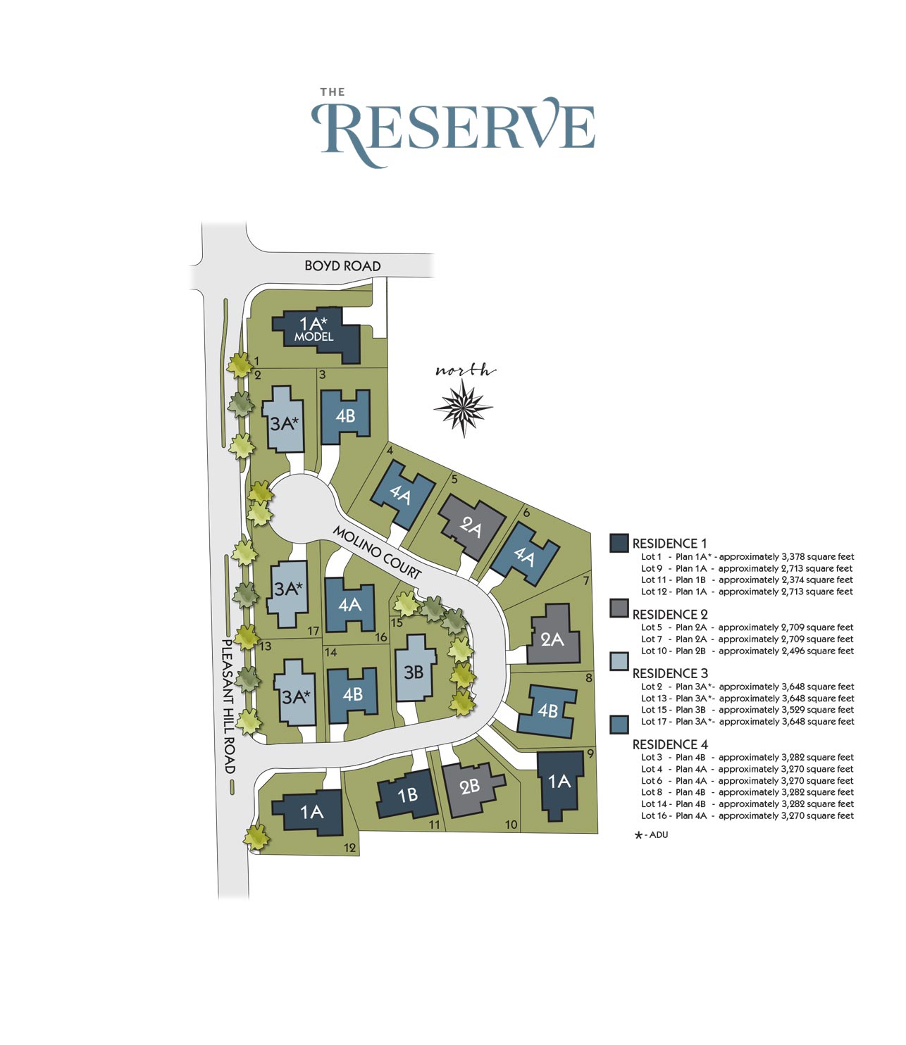 Ponderosa Homes - The Reserve at Pleasant Hill - Site Map